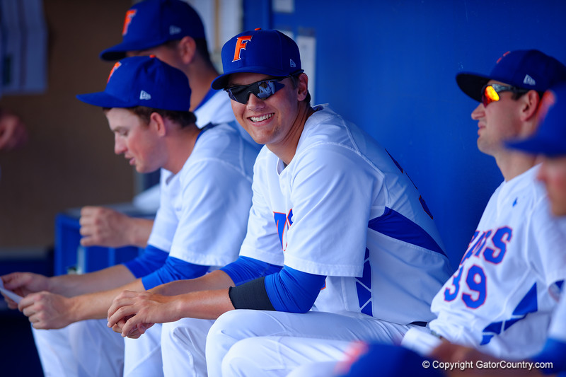 Florida Gators pitcher Logan Shore smiling prior to the start of the game.  Florida Gators vs Miami Hurricanes.  February 22nd, 2015. Gator Country photo by David Bowie.
