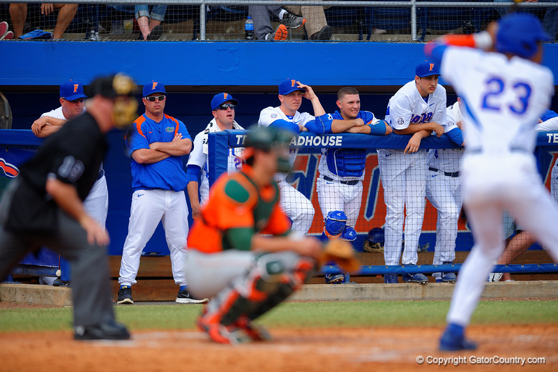 Florida Gators head coach Kevin O'Sullivan watches on as Buddy Reed steps up to bat in the third inning.  Florida Gators vs Miami Hurricanes.  February 22nd, 2015. Gator Country photo by David Bowie.