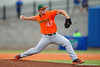 Miami Hurricane pitcher Enrique Sosa delivers a pitch in the first inning.  Florida Gators vs Miami Hurricanes.  February 22nd, 2015. Gator Country photo by David Bowie.