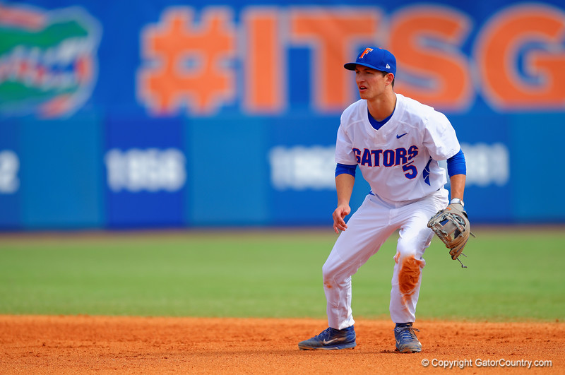 Florida Gators infielder Dalton Guthrie at second base during the fourth inning.  Florida Gators vs Miami Hurricanes.  February 22nd, 2015. Gator Country photo by David Bowie.