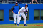 Florida Gators infielder Christian Hicks leads off from third base during the third inning.  Florida Gators vs Miami Hurricanes.  February 22nd, 2015. Gator Country photo by David Bowie.