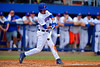 Florida Gators infielder Dalton Guthrie swings at a pitch in the third inning.  Florida Gators vs Miami Hurricanes.  February 22nd, 2015. Gator Country photo by David Bowie.