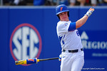 Florida Gators outfielder Harrison Bader takes a practice swing while waiting on deck in the fourth inning.  Florida Gators vs Miami Hurricanes.  February 22nd, 2015. Gator Country photo by David Bowie.