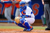 Florida Gators catcher Mike Rivera looks to the dugout for a pitch call during the second inning.  Florida Gators vs Miami Hurricanes.  February 22nd, 2015. Gator Country photo by David Bowie.