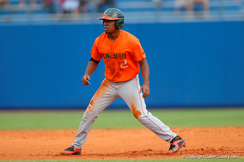 Miami Canes outfielder Ricky Eusebio leads off second base during the third inning.  Florida Gators vs Miami Hurricanes.  February 22nd, 2015. Gator Country photo by David Bowie.