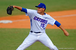 Florida Gators pitcher Danny Young delivers a pitch during the sixth inning.  Florida Gators vs Miami Hurricanes.  February 22nd, 2015. Gator Country photo by David Bowie.