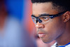 Florida Gators outfielder Buddy Reed sporting new prescription glasses.  Florida Gators vs Miami Hurricanes.  February 22nd, 2015. Gator Country photo by David Bowie.