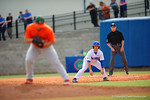 Florida Gators OF/LHP Logan Browning leads off first base during the fifth inning.  Florida Gators vs Miami Hurricanes.  February 22nd, 2015. Gator Country photo by David Bowie.