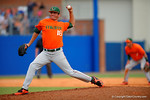 Miami Hurricanes pitcher Michael Mediavilla on the mound pitching during the seventh inning.  Florida Gators vs Miami Hurricanes.  February 22nd, 2015. Gator Country photo by David Bowie.