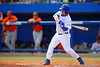 Florida Gators OF/LHP Logan Browning singles during the fifth inning.  Florida Gators vs Miami Hurricanes.  February 22nd, 2015. Gator Country photo by David Bowie.