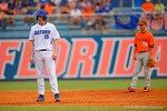 Florida Gators first baseman A.J. Puk leads off second base following his double in the second inning.  Florida Gators vs Miami Hurricanes.  February 22nd, 2015. Gator Country photo by David Bowie.