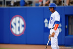 Florida Gators outfielder Buddy Reed waits in the on deck circle during the first inning.  Florida Gators vs Miami Hurricanes.  February 22nd, 2015. Gator Country photo by David Bowie.