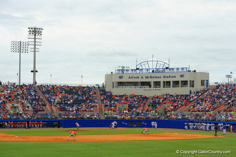 An overview of McKethan Stadium during the eigth inning.  Florida Gators vs Miami Hurricanes.  February 22nd, 2015. Gator Country photo by David Bowie.