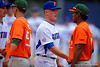 Florida Gators outfielder Harrison Bader shakes hands with the Miami Hurricanes following their 2-1 win over the Canes.  Florida Gators vs Miami Hurricanes.  February 22nd, 2015. Gator Country photo by David Bowie.