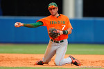 Miami Hurricanes third baseman George Iskenderian dives for a ground ball and throws the runner out from his knees during the seventh inning.  Florida Gators vs Miami Hurricanes.  February 22nd, 2015. Gator Country photo by David Bowie.