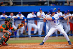 Florida Gators outfielder Harrison Bader swings at a pitch during the second inning.  Florida Gators vs Miami Hurricanes.  February 22nd, 2015. Gator Country photo by David Bowie.