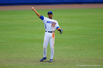 Florida Gators outfielder Buddy Reed throws a ball in from the outfield during the eighth inning.  Florida Gators vs Miami Hurricanes.  February 22nd, 2015. Gator Country photo by David Bowie.