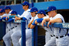 Florida Gators outfielder Harrison Bader waits in the dugout for pre-game introductions.  Florida Gators vs Miami Hurricanes.  February 22nd, 2015. Gator Country photo by David Bowie.