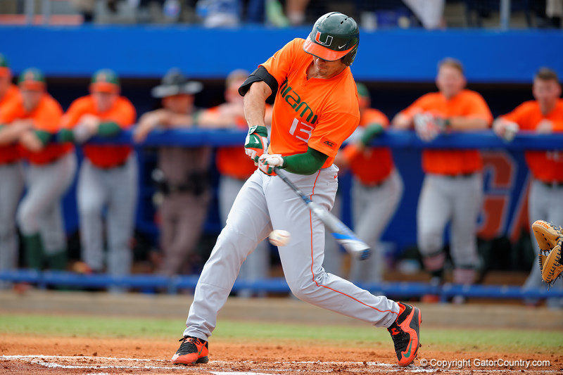 Miami Hurricane outfielder Willie Abreu swings and grounds out during the second inning.  Florida Gators vs Miami Hurricanes.  February 22nd, 2015. Gator Country photo by David Bowie.