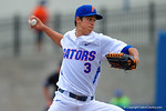 Florida Gators pitcher Dane Dunning throwing from the mound during the first inning.  Florida Gators vs Miami Hurricanes.  February 22nd, 2015. Gator Country photo by David Bowie.