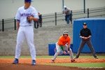 Miami Hurricane infielder George Iskenderian leads off first base as he watches Florida Gators pitcher Dane Dunning during the second inning.  Florida Gators vs Miami Hurricanes.  February 22nd, 2015. Gator Country photo by David Bowie.