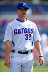 Florida Gators pitcher Logan Shore during pre-game drills.Florida Gators vs Miami Hurricanes.  February 22nd, 2015. Gator Country photo by David Bowie.