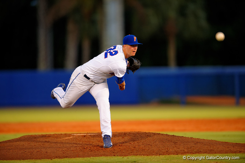 Florida Gators pitcher Logan Shore throws to home during the second inning.  Florida Gators Baseball vs South Carolina Gamecocks.  April 10th, 2015. Gator Country photo by David Bowie.