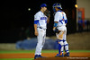 Florida Gators catcher Mike Rivera comes out to talk with Florida Gators pitcher Brett Morales as he enters the game.  Florida Gators Baseball vs Florida State Seminoles.  March 17th, 2016. Gator Country photo by David Bowie.