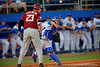 Florida Gators catcher Mike Rivera throws toward second base trying to pick off the runner.  Florida Gators Baseball vs Florida State Seminoles.  March 17th, 2016. Gator Country photo by David Bowie.