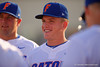 Florida Gators outfielder Harrison Bader flashes a smile as the team gathers prior to the start of the game.  Florida Gators Baseball vs Florida State Seminoles.  March 17th, 2016. Gator Country photo by David Bowie.