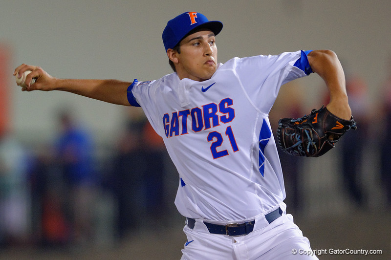 Florida Gators pitcher Alex Faedo throwing in the third inning.  Florida Gators Baseball vs Florida State Seminoles.  March 17th, 2016. Gator Country photo by David Bowie.