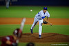 Florida Gators pitcher Alex Faedo throws toward the plate in the fourth.  Florida Gators Baseball vs Florida State Seminoles.  March 17th, 2016. Gator Country photo by David Bowie.