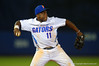 Florida Gators infielder Josh Tobias throws to first for an out in the eighth inning.  Florida Gators Baseball vs Florida State Seminoles.  March 17th, 2016. Gator Country photo by David Bowie.