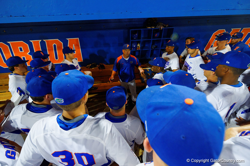 Florida Gators head coach Kevin O'Sullivan walks with his team following the win over the Seminoles.  Florida Gators Baseball vs Florida State Seminoles.  March 17th, 2016. Gator Country photo by David Bowie.