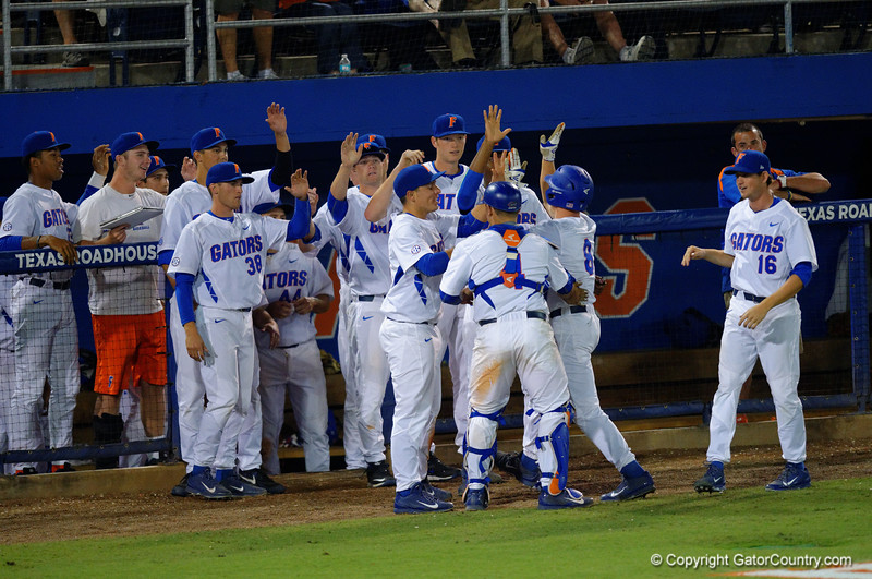 The Gators celebrate another run scored in the fifth inning.  Florida Gators Baseball vs Florida State Seminoles.  March 17th, 2016. Gator Country photo by David Bowie.