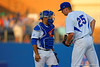 Florida Gators catcher Mike Rivera comes out to calm down Florida Gators pitcher Eric Hanhold during the first inning.  Florida Gators Baseball vs Florida State Seminoles.  March 17th, 2016. Gator Country photo by David Bowie.