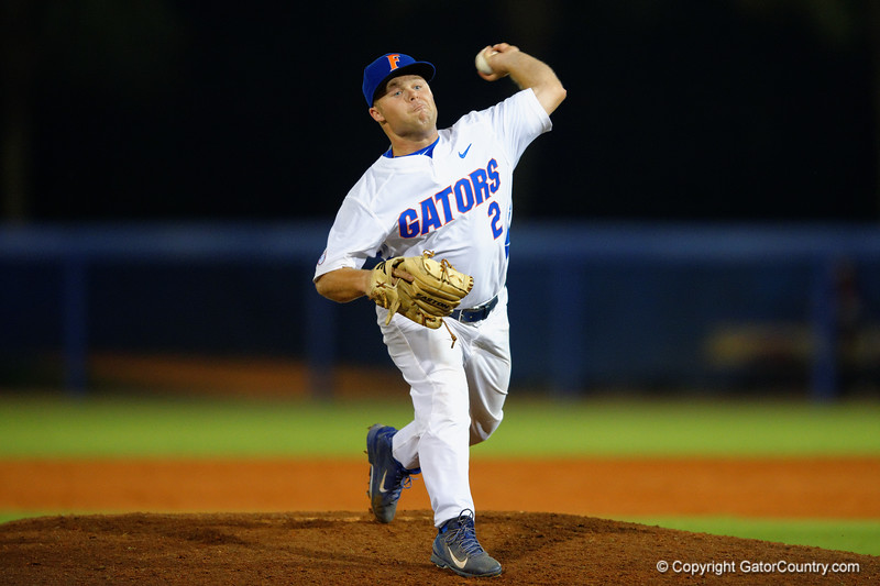 Florida Gators LHP Logan Browning throwing in the ninth inning to seal the win for the Gators.  Florida Gators Baseball vs Florida State Seminoles.  March 17th, 2016. Gator Country photo by David Bowie.