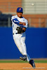 Florida Gators shortstop Richie Martin throws toward first base during infield practice prior to the start of the game.  Florida Gators Baseball vs Florida State Seminoles.  March 17th, 2016. Gator Country photo by David Bowie.