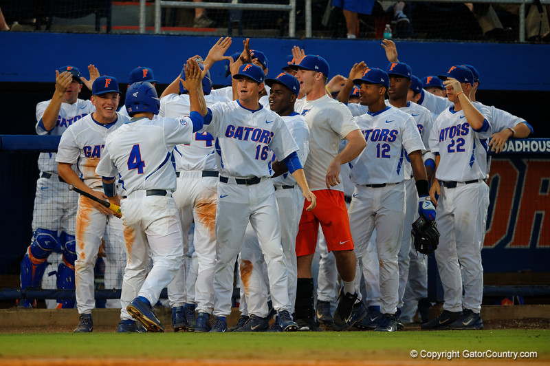 The Gators high five Florida Gators infielder John Sternagel and catcher Mike Rivera as they come into the dugout.  Florida Gators Baseball vs Florida State Seminoles.  March 17th, 2016. Gator Country photo by David Bowie.