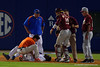 Florida Gators head coach Kevin O'Sullivan comes out to check on Florida Gators infielder Josh Tobias after Tobias slid home.  Florida Gators Baseball vs Florida State Seminoles.  March 17th, 2016. Gator Country photo by David Bowie.