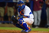 Florida Gators catcher Mike Rivera looks to the dugout for the call.  Florida Gators Baseball vs Florida State Seminoles.  March 17th, 2016. Gator Country photo by David Bowie.