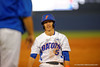 Florida Gators infielder Dalton Guthrie reacts as he is called out at third during the second inning.  Florida Gators Baseball vs Florida State Seminoles.  March 17th, 2016. Gator Country photo by David Bowie.