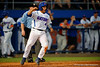 Florida Gators catcher Mike Rivera celebrates as he crosses home in the first.  Florida Gators Baseball vs Florida State Seminoles.  March 17th, 2016. Gator Country photo by David Bowie.