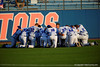 The Gators gather in the outfield prior to the start of the game.  Florida Gators Baseball vs Florida State Seminoles.  March 17th, 2016. Gator Country photo by David Bowie.