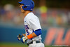 Florida Gators infielder Dalton Guthrie reacts to a call after being called out at first base during the first inning.  Florida Gators Baseball vs Florida State Seminoles.  March 17th, 2016. Gator Country photo by David Bowie.