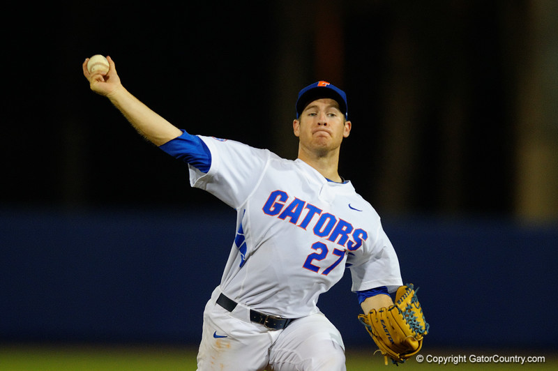 Florida Gators pitcher Aaron Rhodes throws to the plate in the sixth inning.  Florida Gators Baseball vs Florida State Seminoles.  March 17th, 2016. Gator Country photo by David Bowie.