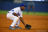 Florida Gators infielder Josh Tobias gets set for a pitch in the second.  Florida Gators Baseball vs Florida State Seminoles.  March 17th, 2016. Gator Country photo by David Bowie.