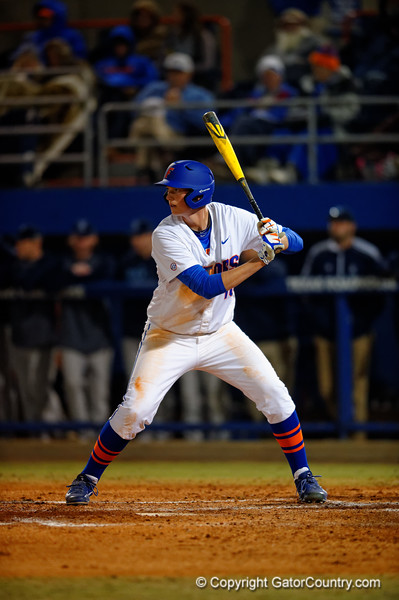Florida Gators first baseman A.J. Puk steps up to the plate during the fourth inning.  Florida Gators vs Rhode Island Rays.  February 13th, 2015. Gator Country photo by David Bowie.