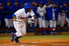 Florida Gators infielder Josh Tobias lays down a bunt in the second inning.  Florida Gators vs Rhode Island Rays.  February 13th, 2015. Gator Country photo by David Bowie.
