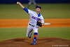 Florida Gators pitcher Logan Shore throwing toward home.  Florida Gators vs Rhode Island Rays.  February 13th, 2015. Gator Country photo by David Bowie.